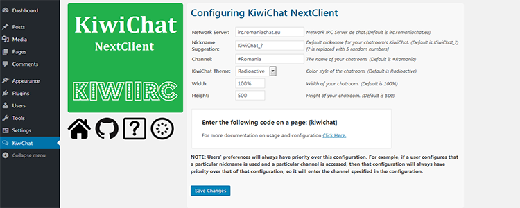 KiwiChat KiwiIRC WordPress Plugin